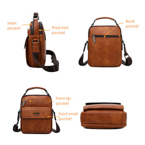 Image 3 - JEEP BULUO Men Shoulder Bags High Quality Handbags Mans Messenger Bag Fashion Split Leather For Men Tote 2019 New 2PC/Set