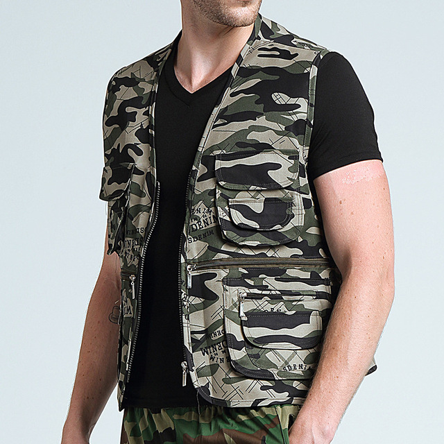 Men's Camo Vest Field Photography Work Multi Pockets Mesh Vest SWAT Tactical Military Combat Paintball Sleeveless Waistcoat