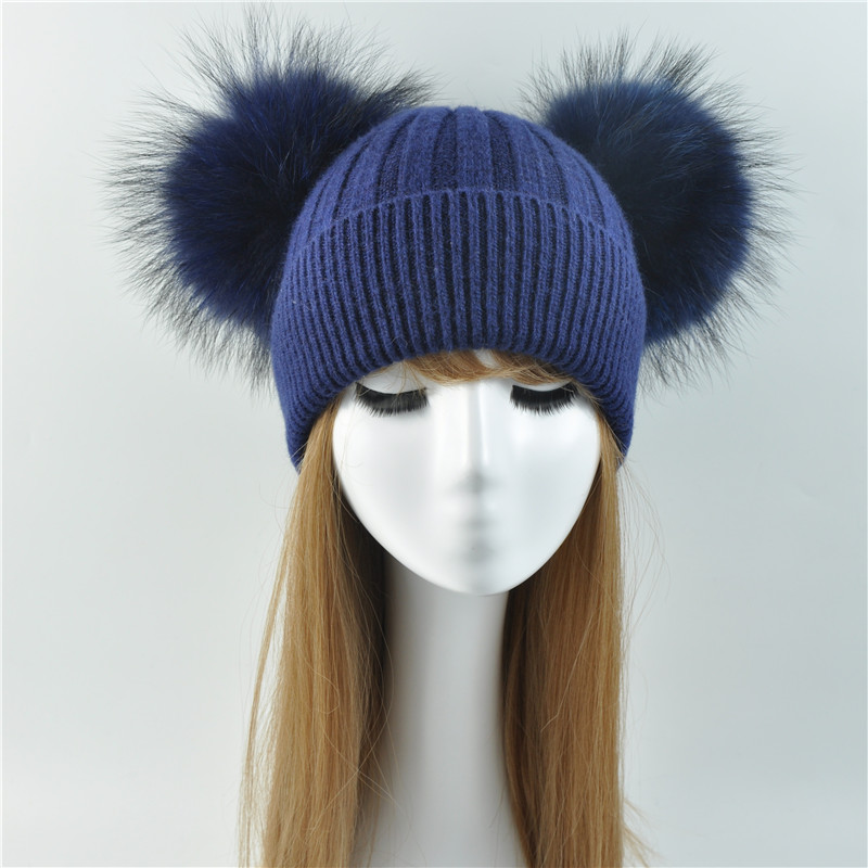 Double Real Raccoon Fur Pompom Hat Women Winter Caps Knitted Wool ... caea97bb50e