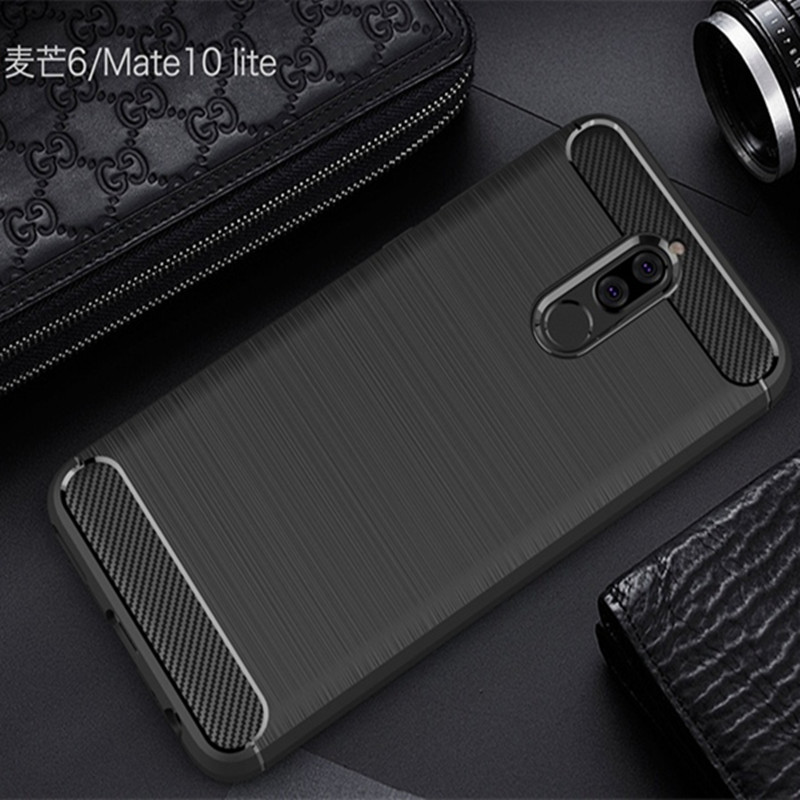 Huawei Mate 10 Lite Case Silicon Mate 10 Lite Cover Soft Mobile Phone Cases Carbon Fiber Brushed Fundas Coque Etui Accessory