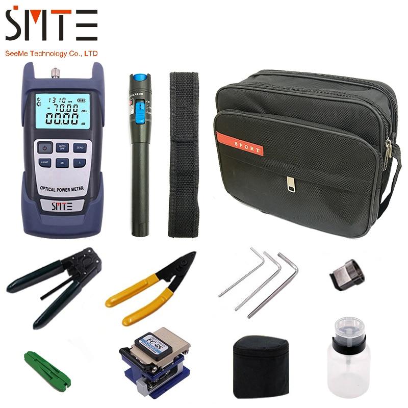 Trousse à outils optique FTTH de Fiber de 12 pièces/ensemble avec le couperet de Fiber de FC-6S et le mètre de puissance optique décapant visuel de fil de localisateur de défaut de 5km