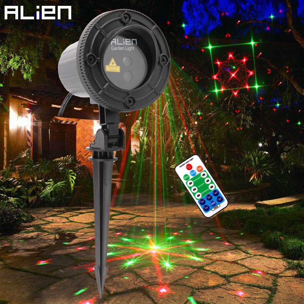 цены на ALIEN Red Green 24 Patterns Christmas Laser Lights Outdoor Projector Xmas Tree Holiday Garden Waterproof Lighting With RF Remote в интернет-магазинах