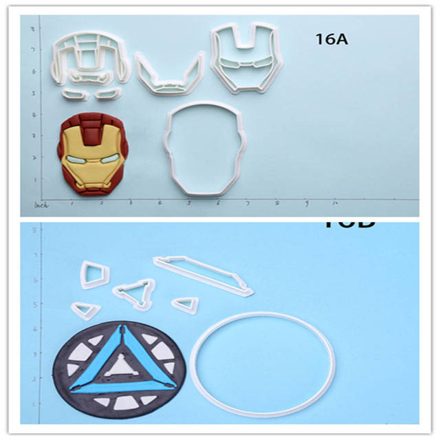 US $4 98 30% OFF|Super Man Iron Man Design Plastic Cutters Custom Made 3D  Printed Cookie Cutter Set-in Cookie Tools from Home & Garden on