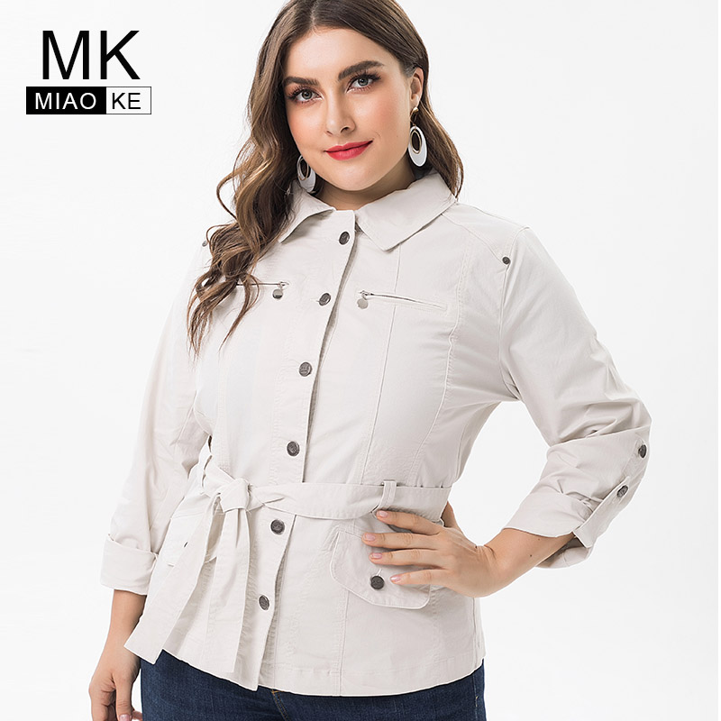 Miaoke 2019 Spring ladies Plus Size trench coat for womens Clothing Fashion large size Vintage female