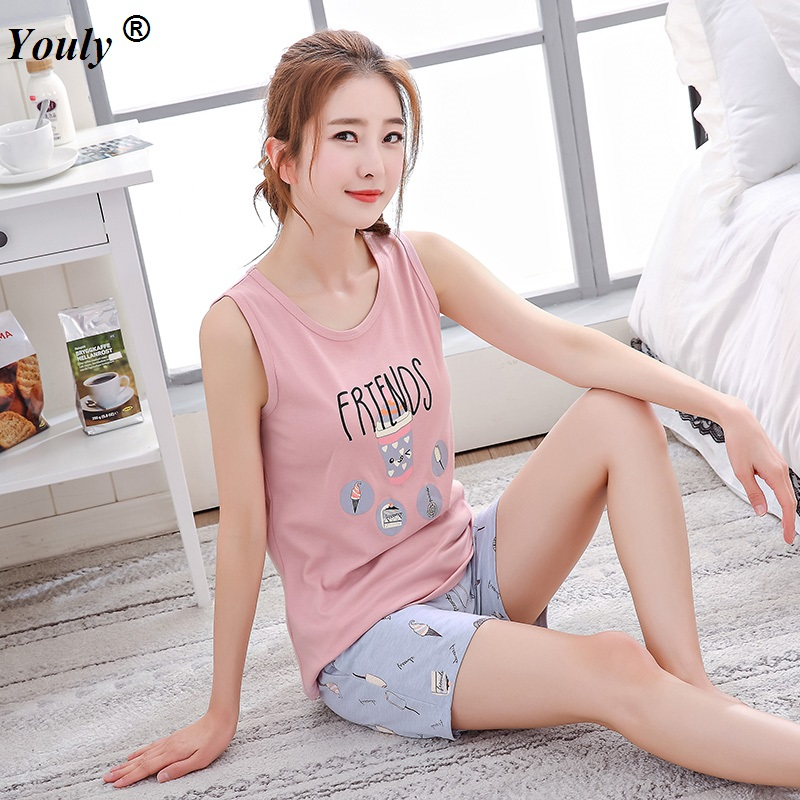 Striped Print Tank Top Elastic waist Shorts   Pajama     Set   Women Sleeveless Homewear Preppy Nightwear 2019 Casual Sleepwear Outwear