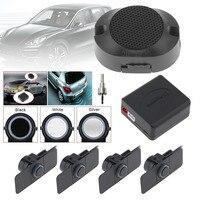 Czujniki Parkowania samochodu Parktronics 4 Czarny/Srebrny/Biały 13mm Płaskie Czujniki Odwrotnej Backup Radar Dźwięk Brzęczyka regulowany Dźwięku