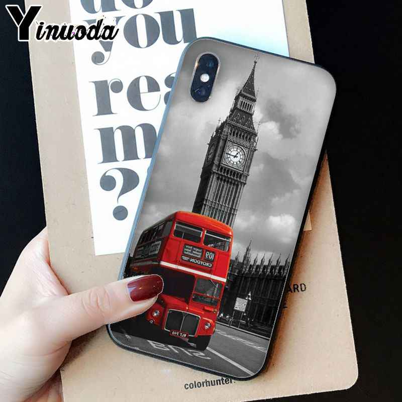 Yinuoda London big ben Bus Soft Silicone TPU Phone Cover for iPhone 8 7 6 6S Plus 5 5S SE XR X XS MAX Coque Shell