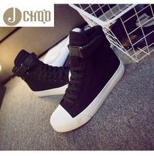 Jchqd Mode Hoge Top Sneakers Canvas Schoenen Vrouwen Casual Schoenen Witte Platte Vrouwelijke Mand Lace Up Solid Trainers Chaussure Femme