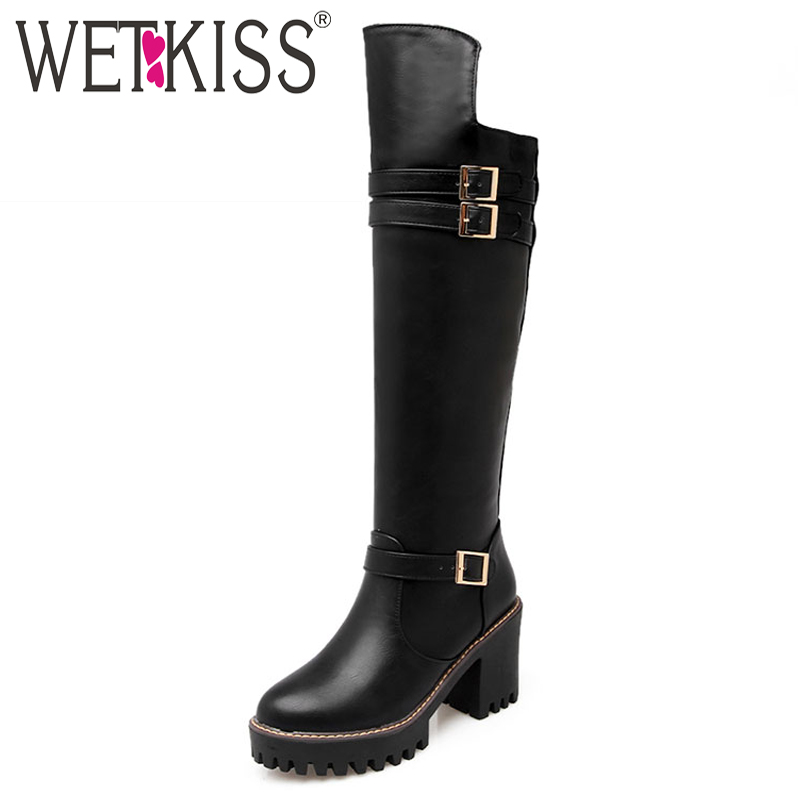 WETKISS Big Size 34-43 Knee Boots Buckle Charm Thick High Heels Fall Boots Women Add Fur Platform Fashion Winter Shoes Woman size 34 42 2016 new high quality fall winter boots thick med heels platform shoes woman fashion add fur knee women boots
