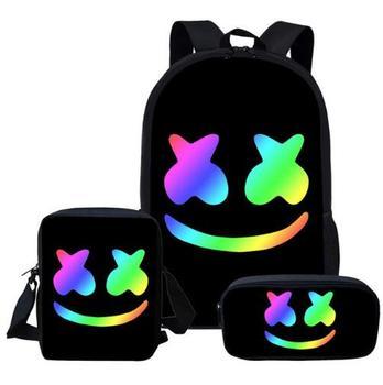 74fe9ed7ef51 Черный Marshmello комплект школьных сумок для подростков мальчиков и  девочек милые дети студент школьный Прохладный основной Детские ранцы