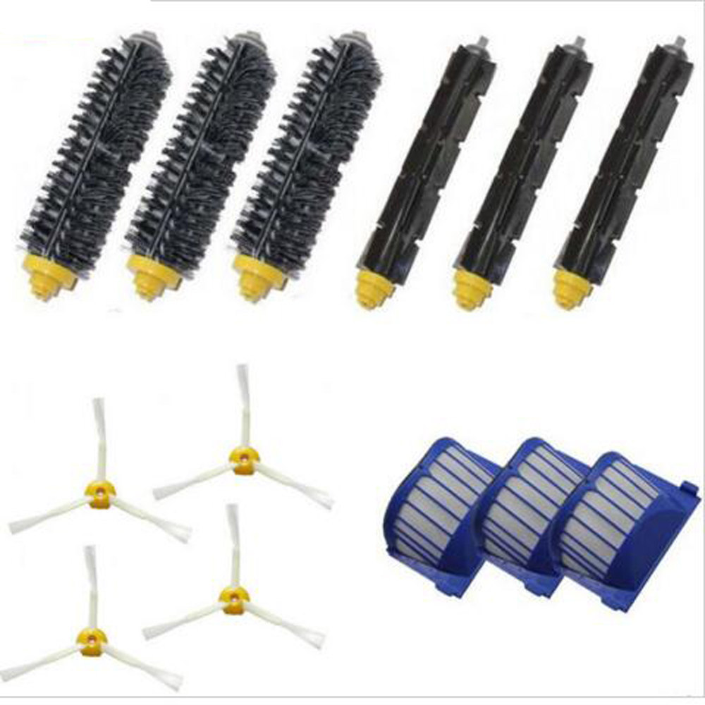 New Brush Kits 4pcs 3-armed Aero Vac Filter kit for iRobot Roomba 600 Series 620 630 650 660 Set in one Pack Free Shipping free post new aero vac filter brush 3 armed tool for irobot roomba 600 series 620 630 650