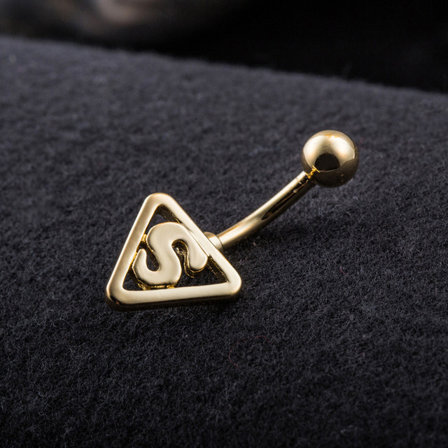 Gold Plated 316L Surgical Steel Superman Symbol Belly Button Bar