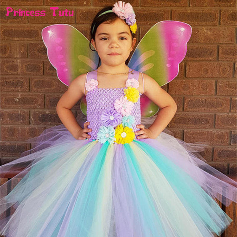 Rainbow Flower Fairy Tutu Dress With Wings Girls Tulle Princess Dress Knee Length Kids Party Dresses For Girls Halloween Costume цена 2017