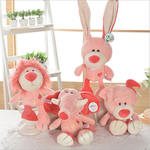 Lovely Pink Lion Elephant Bear Rabbit Plush Toy Stuffed Animal Toys Doll Childrens Birthday Gift