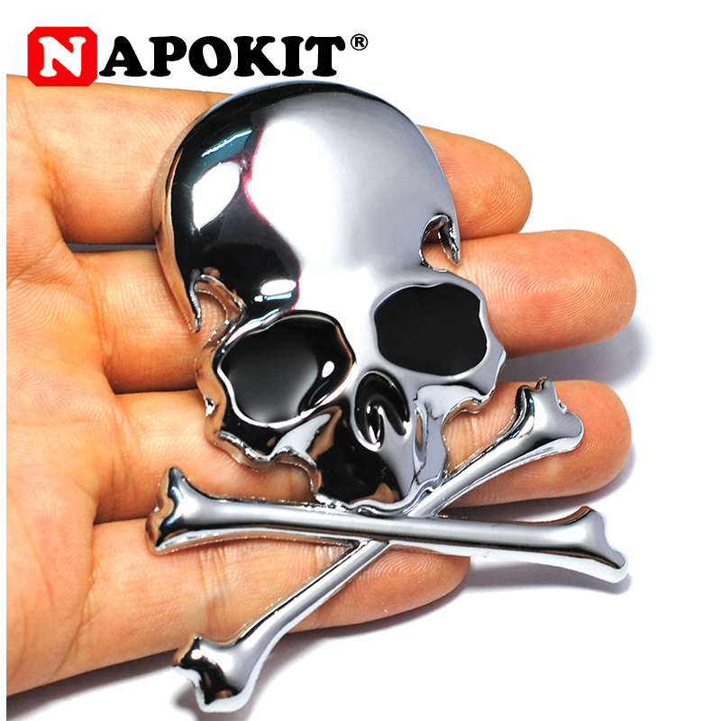 7.2x6CM 3D Metal Skull Skeleton Crossbones Car Motorcycle Sticker Truck Label Emblem Badge Car Styling Decoration Accessories