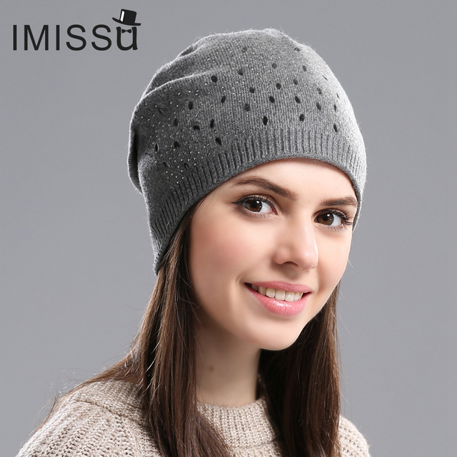 46a98c2cd36 IMISSU Winter Beanies Hat Women Knitted Wool Skullies Casual Cap with Solid  Colors Fashion Thick Warm