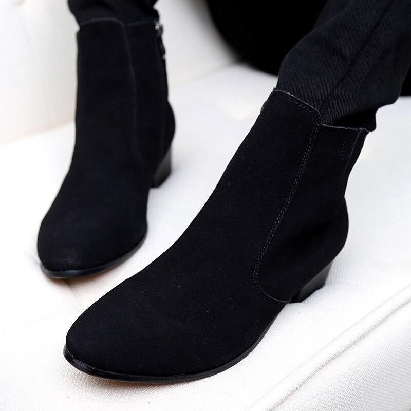 Online Shop Chelsea Boot Men Suede Hombre Martin Boots Low Heel ...