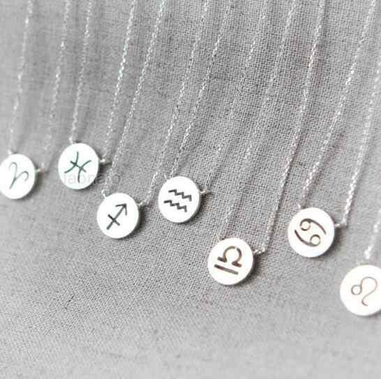 Daisies One ชิ้นจี้สร้อยคอ Zodiac Sign Constellation ป้ายสร้อยคอผู้หญิง 12 Constellation เครื่องประดับ