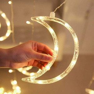 Image 3 - 3.5M 138leds Star Moon Led Curtain String Light 220V Romantic Holiday Christmas Garland Lights For Ramadan Wedding Party Decor