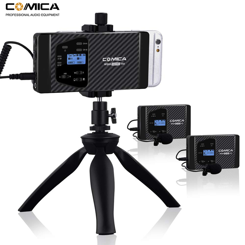 Microphone sans fil Comica CVM-WS60 sans fil double Lavalier système de Microphone pour iPhone Smartphones pour appareil photo Canon Nikon