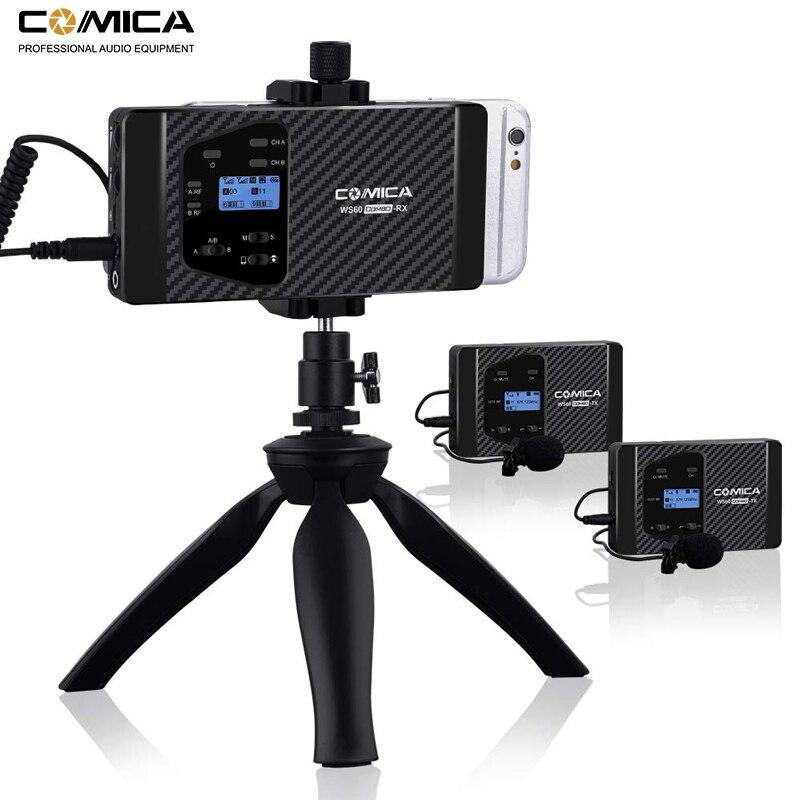 Microphone sans fil Comica CVM WS60 sans fil double Lavalier système de Microphone pour iPhone Smartphones pour appareil photo Canon Nikon-in Microphones from Electronique    1