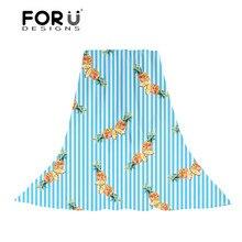 FORUDESIGNS Women Scarf Cartoon Pineapple Printing Ladies Cute Pattern Slik Scarves for Female Fashion Towels Party Dress Wraps cute panda pattern scarf for women