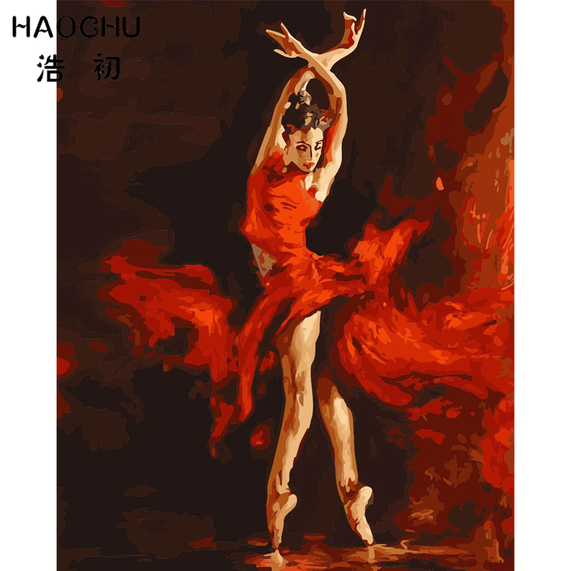HAOCHU Abstract Fire Ballet Dancer Picture On Wall Acrylic Paint By Numbers DIY Oil Painting Home Living Room Decor Wall Artwork plaid
