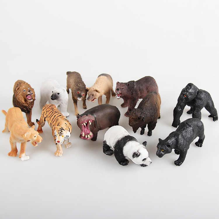Hot Sale 12 pçs/set Plástico Figura Animal de Zoológico Panda Tigre Orangotango Ovelhas Lobo Cães Crianças Brinquedo Encantador Animal Brinquedos Conjunto frete Grátis