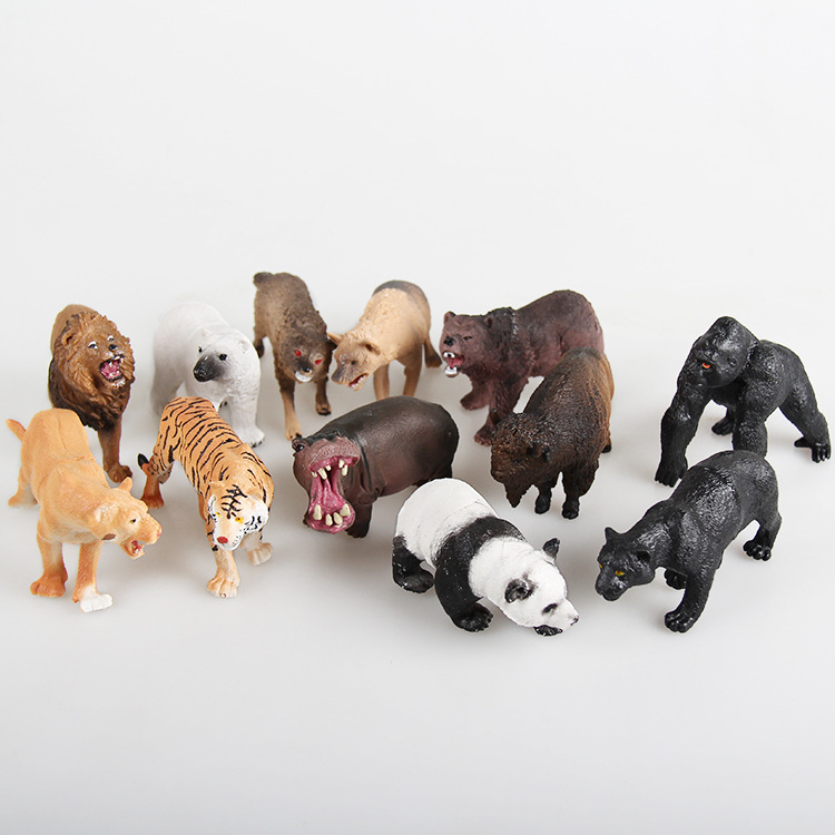 Hot Sale 12PCS/set Plastic Zoo Animal Figure Panda Tiger Orangutan Sheep Wolf Dogs Kids Toy Lovely Animal Toys Set Free Shipping lps pet shop toys rare black little cat blue eyes animal models patrulla canina action figures kids toys gift cat free shipping
