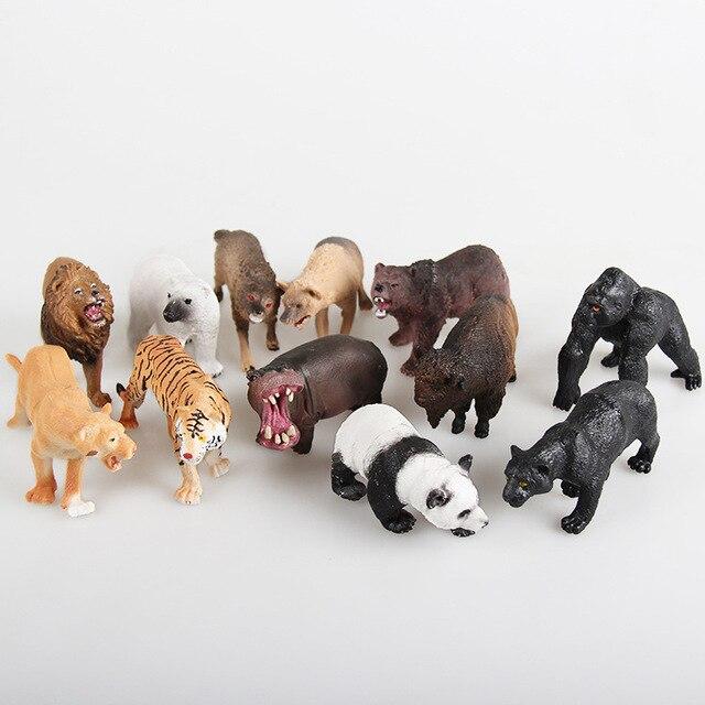 Venta caliente 12 Unids/set Plástico Zoo Animal Figura Panda Tigre Orangután Perros Lobo ovejas Niños Juguete Animal Encantador Juguetes Set Envío gratis