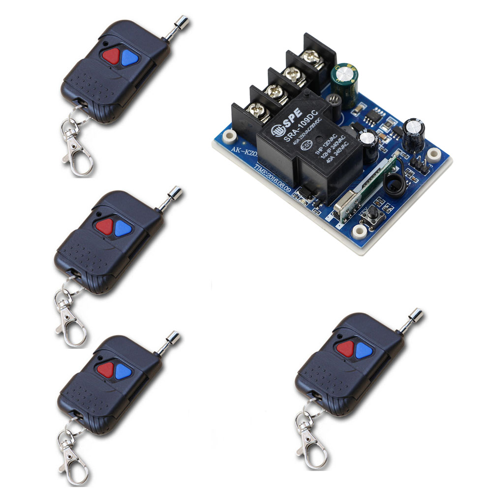 New Style DC 12V 24V 36V 48V 30A RF Wireless Remote Switch Relay Receiver and 4pcs Remote Controllers For Light Lamp LED Bulbs