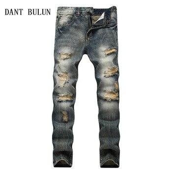 2020 Men's Vintage Ripped Jeans Men Retro Distressed Slim Straight Casual Denim Pants Plus Size 28-42 Holes Trousers,TS954