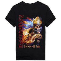 2017 100 Cotton Men 3D T Shirt Hip Hop Punk Swag T Shirt Iron Maiden Skull