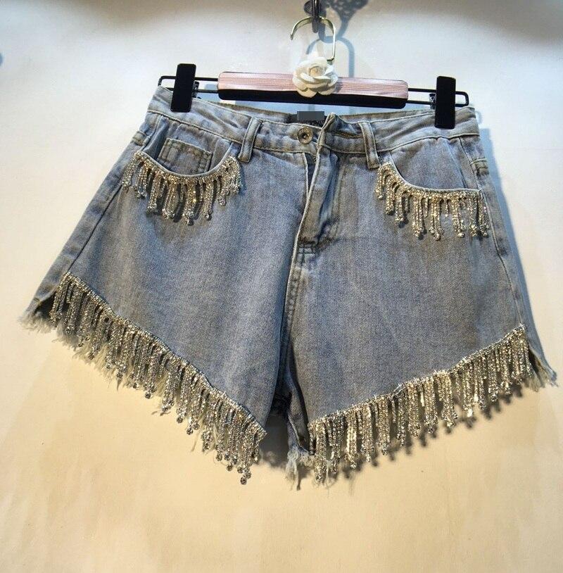 2019 Cotton Rushed Women Shorts Short Jeans Women's New Cowboy Heavy Work Vertical Studded Tassel High Waist Wide Leg Female