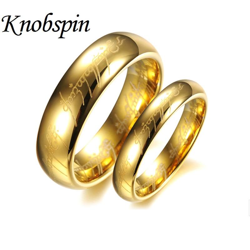 Zlata barva volframova poročna pasova za pare Obročki za hobit Ženske in moški Lep nakit Vroča prodaja ZDA Velikost 5 do 15 En prstan moči