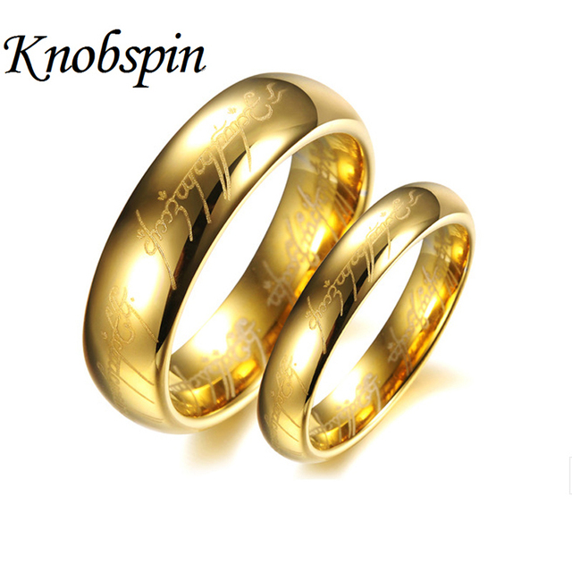 Gold Color Tungsten Wedding Bands For Couples Hobbit Rings Women And