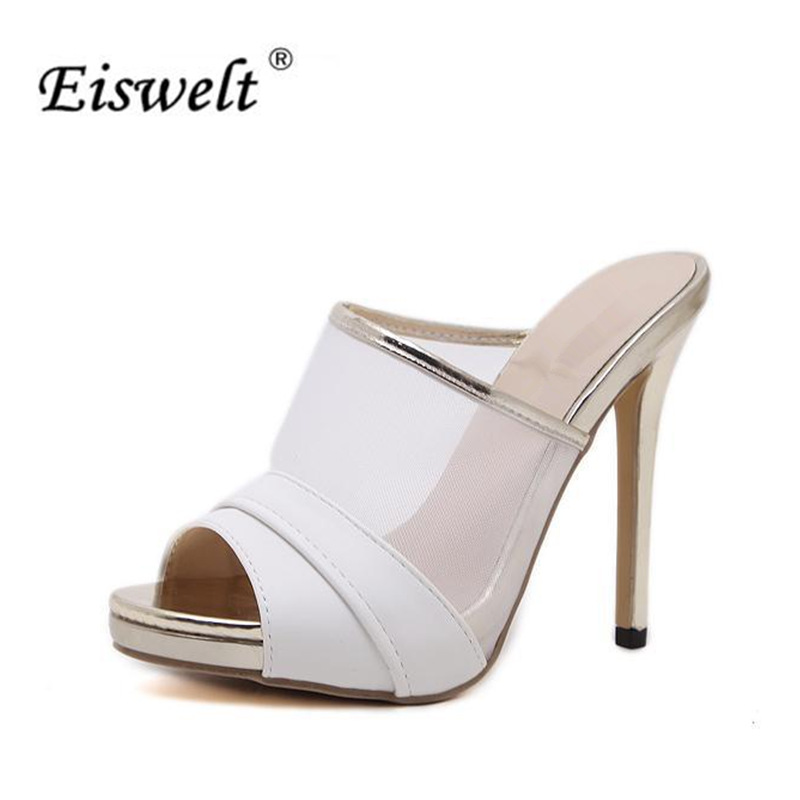 EISWELT Summer Women Sandals Platform Open Toes Lace High Heels Sandals Women Shoes Sexy High Heel Sandals Cross Tied#ELQ137 summer women high heel sandals super high thin heels cross tied narrow band open toe lace up women cutouts shoes black white