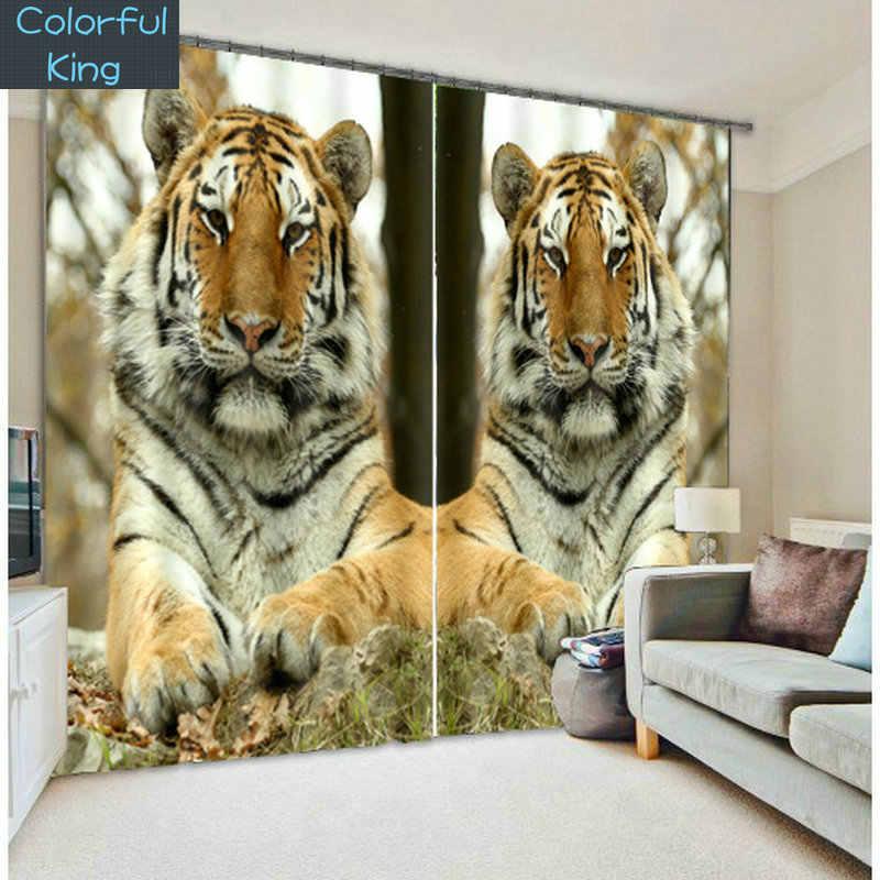 Роскошные затемненные 3D оконные шторы с изображением зверя льва и Тигра для гостиной, спальни, шторы cortinas Rideaux, Индивидуальный размер