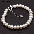 Etrendy 925 Sterling Silver Natural Pearl Bracelets For Women Bijoux Simple Elegant Wedding Fine Jewelry Gifts