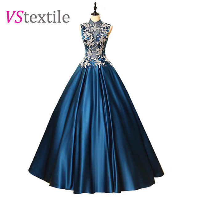high collar ball gowns blue long prom dresses 2018 robe longue new ...