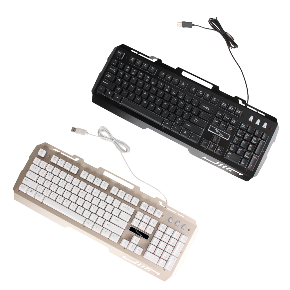 3 Backlights Metal Pro Gaming Keyboard USB Wired Powered Full Game Keyboard for PC Games LOL Dota Computer Peripherals Keyboard