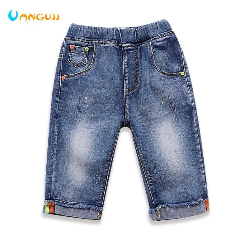 Мальчик Шорты с принтом в горошек джинсовые шорты Летняя одежда для мальчиков Горячие распродажа, модная обувь прямые Штаны мыть 5 POCKET джинс... ...