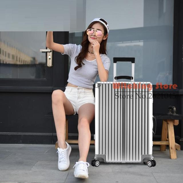 29 INCH  20242629# On the same retro universal wheel trolley suitcase aluminum frame box business students rose gold travel