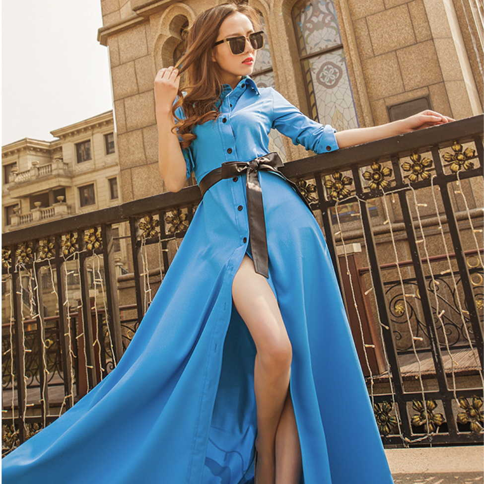 Spring New Women's Wear 2018 New Style Slim, European And American Single Breasted Dress, Long Sleeves, Pure Color, Long Pendant