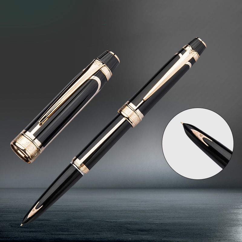 Hero 100 14K Gold Nib Classic Fully Metal Fountain Pen Arrow Mark Authentic Quality Black-Golden Clip Ink Pen Writing Gift Set