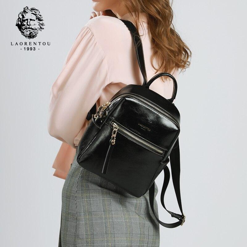LAORENTOU Frauen Rucksäcke Echtem Leder Adrette Rucksack Weiblichen Reise Schule Tasche Mini Mode Original Schulter Taschen-in Rucksäcke aus Gepäck & Taschen bei  Gruppe 1