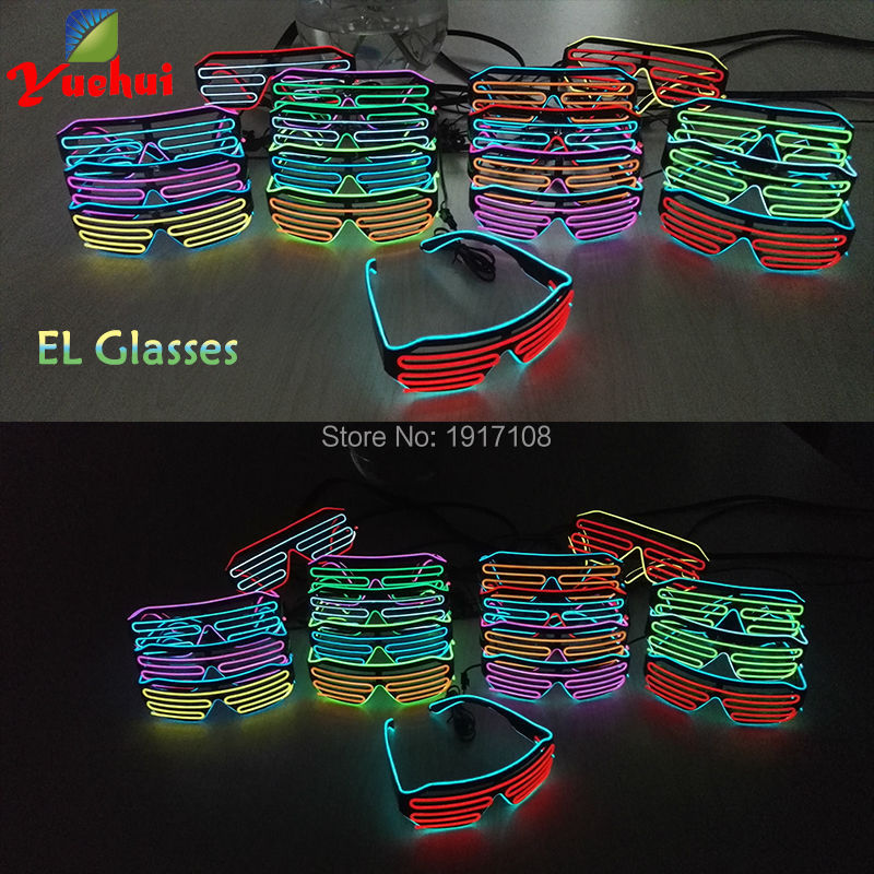 New design 2 colors luminous EL Wire EL Glasses LED Glasses Neon Light By DC-3V Sound Ac ...