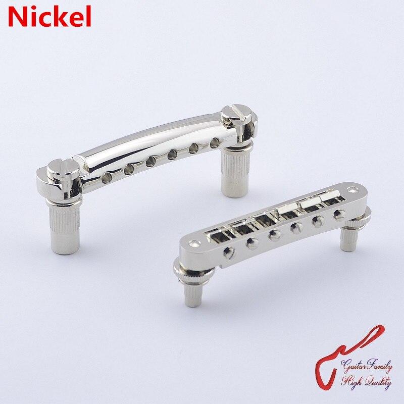 1 Set GuitarFamily Tune-O-Matic Electric Guitar  Bridge And Tailpiece Nickel  ( #1157 ) MADE IN TAIWAN new 1 set guitar bridge