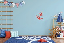 Laeacco Baby Room Wooden Rudder Anchor Pattern Carpet Photography Backgrounds Customized Photographic Backdrops For Photo Studio