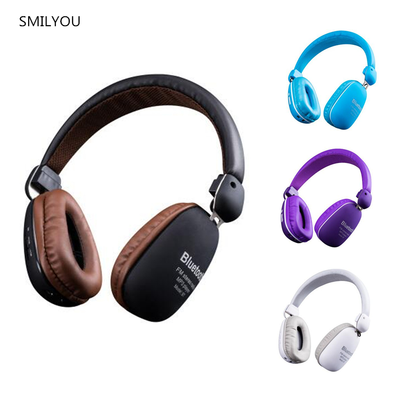 SMILYOU Multifunction Wireless Bluetooth 4.1 Stereo Headphone sd card&FM radio Headset with Mic High Bass Sounds for phone pc economic set original nia 8809s 8 gb micro sd card a set wireless headphone sport for tv with fm